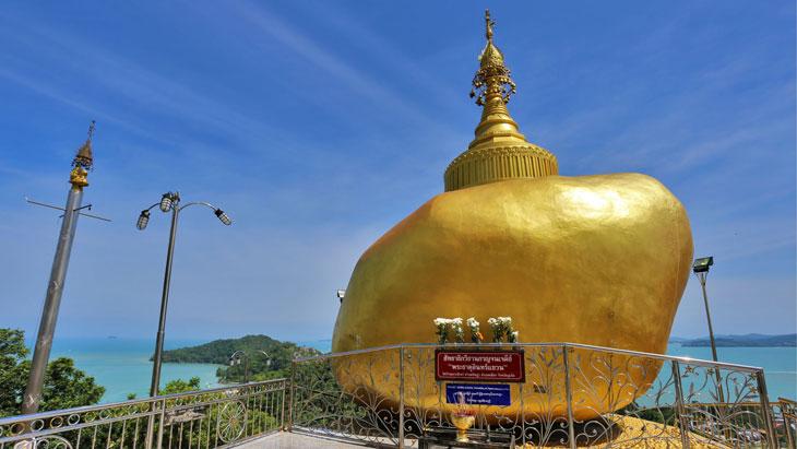 Simulation of Kyaiktiyo Pagoda at Sirey Temple, Phuket